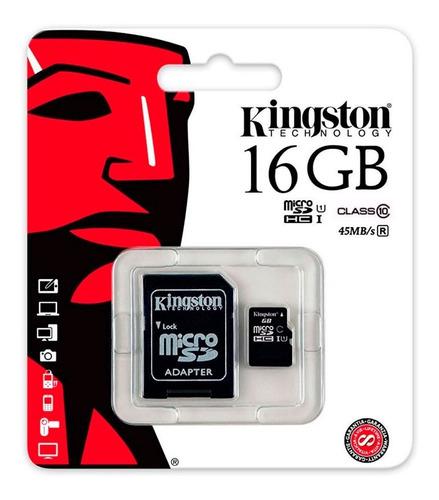 memoria micro sd hc 16gb kingston clase 10 full hd s9 note