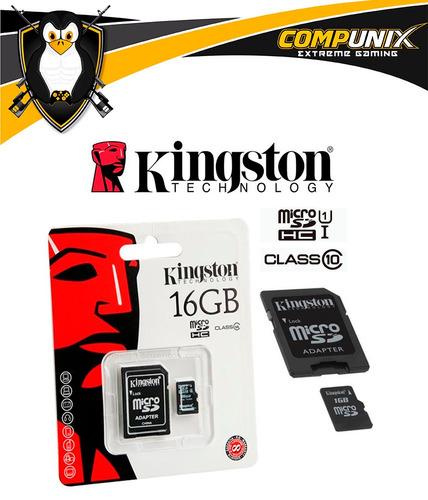 memoria micro sd kingston 16gb clas 10 incluye adaptador