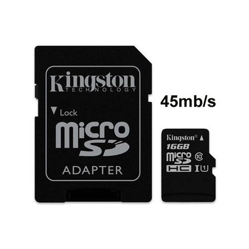 memoria micro-sd kingston 16gb clase 10 45 mb/s full hd