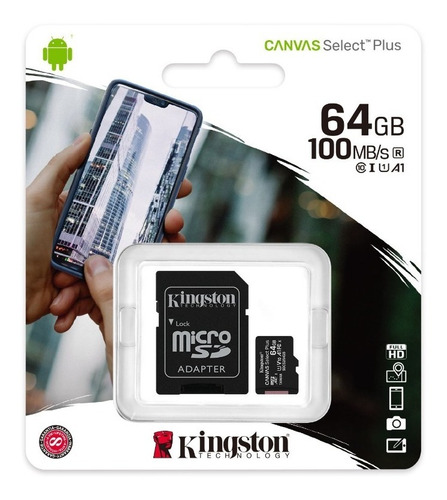memoria micro sd kingston 64 gb clase 10 80mb/s