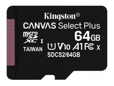 memoria micro sd kingston 64gb 100mb/s clase 10 canvas plus