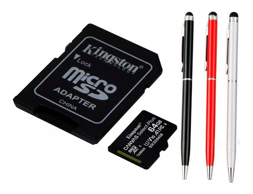 memoria micro sd kingston 64gb canvas 80 m/s +lapicera touch