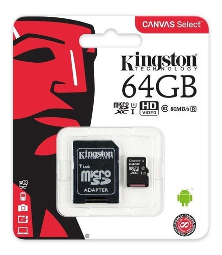 memoria micro sd kingston 64gb canvas select clase 10 80mbps