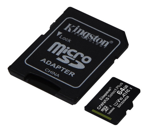 memoria micro sd kingston 64gb canvas select plus 100 mb/s