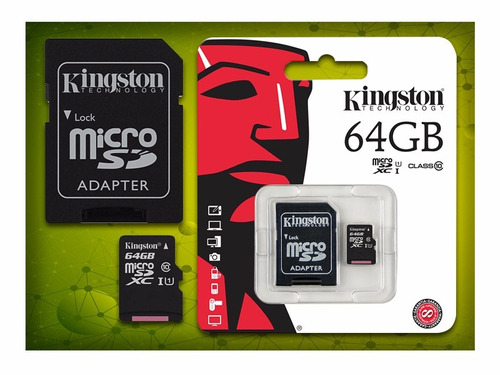 memoria micro sd kingston 64gb clase 10 + 1lector de memoria
