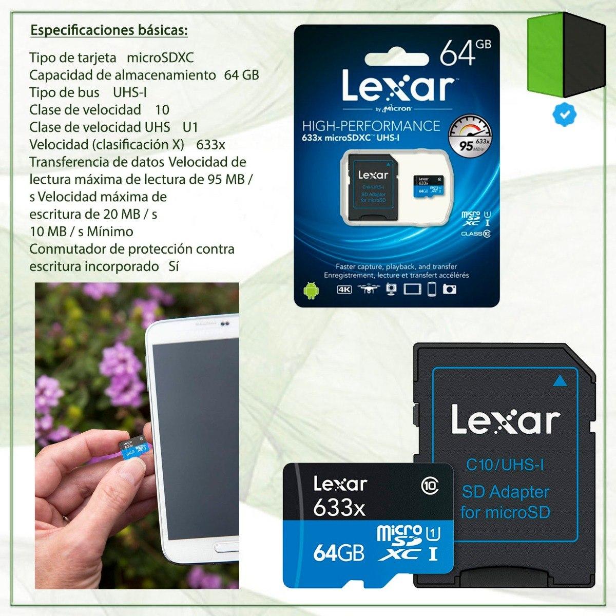 Lexar 32GB de alto rendimiento 633x microSDHC UHS-I 95MB//s Con Adaptador Clase 10