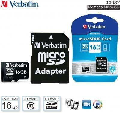 memoria micro sd premium 16gb verbatim v10 con adaptador #44082 cordoba sabattini