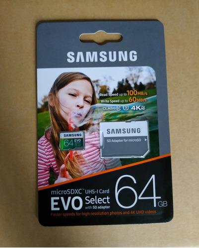 memoria micro sd samsung evo select 64gb clase 10 +adaptador