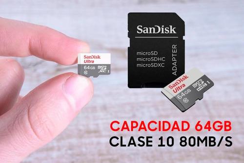 memoria micro sd sandisk 64gb ultra cl10 80 mbps blister