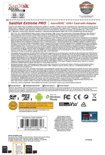memoria micro sd sandisk extreme pro 128 gb 4k original