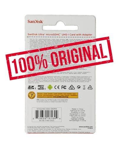 memoria micro sd sandisk ultra 32gb clase 10 a 80mb original