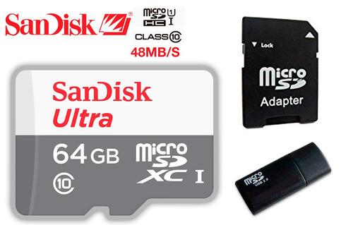 memoria micro sd sandisk ultra 64gb xc uhs-i clase 10 48mbs