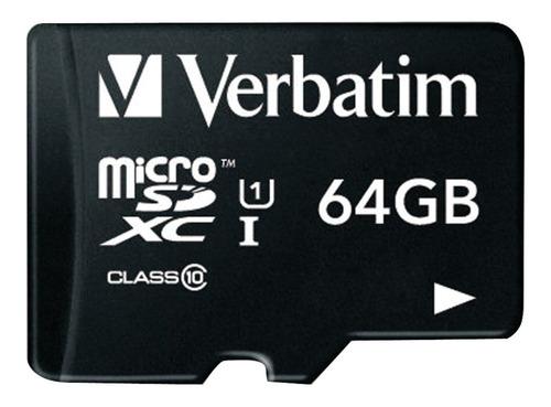 memoria micro sd xc 64gb verbatim 44034 clase 10 ideal 4k