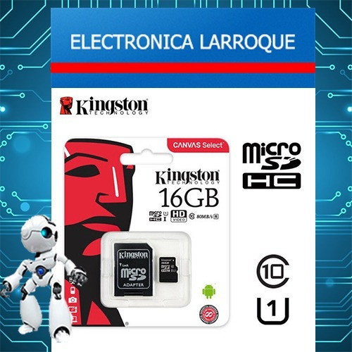 memoria microsd 16gb + adaptador sd kingston clase 10 canvas