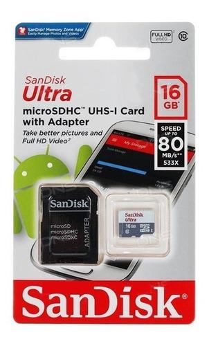 memoria microsd 16gb sandisk clase 10 micro sd 80mb/s blister c/ adaptador sd gtia oficial