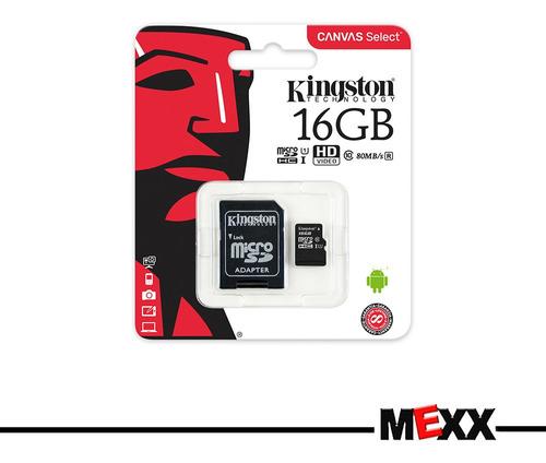 memoria microsd sd 16gb kingston clase 10 fullhd camara mexx
