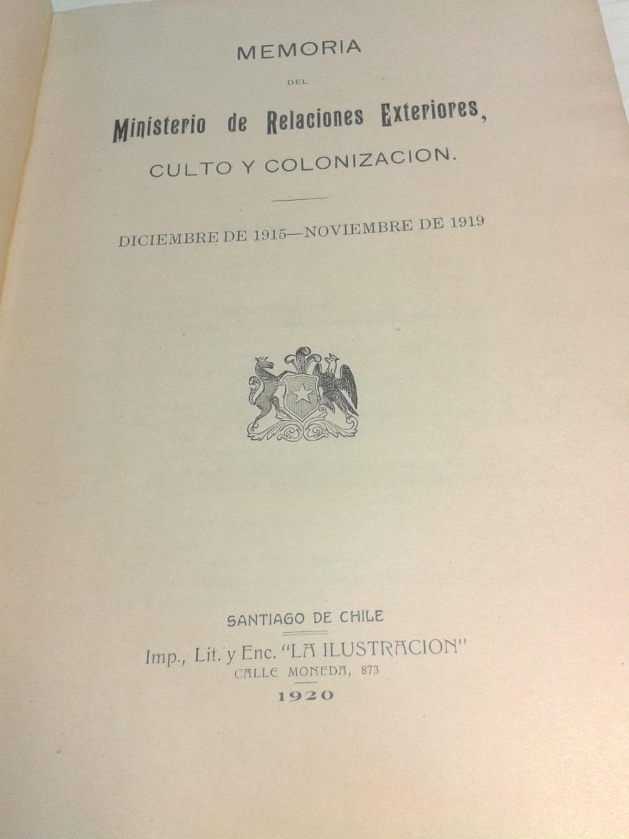 Memoria ministerio relaciones exteriores culto y Ministerio de relaciones exteriores y culto