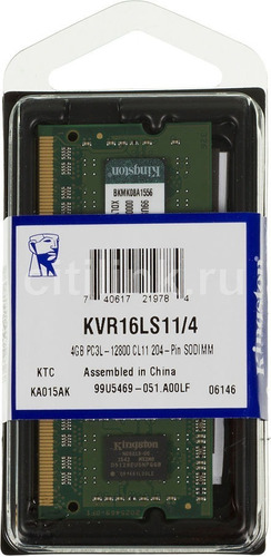 memória notebook 4gb ddr3l 1600mhz kvr16ls11/4 kingston