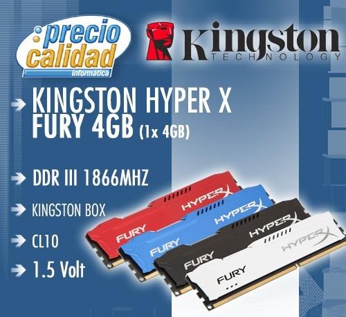 memoria ram 4gb 1866mhz kingston hyper x fury ddr3 1 x 4gb
