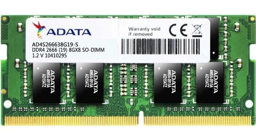 memoria ram 8gb ddr4 2666 adata so-dimm para portatil