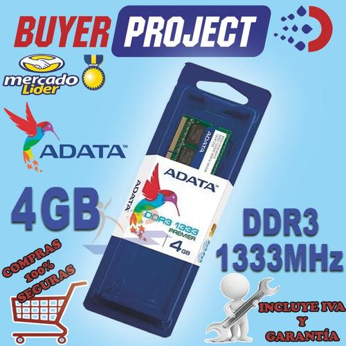 memoria ram adata ddr3 4gb pc3-10600 1333 mhz sodimm laptop