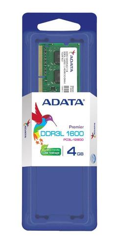 memoria ram adata sodimm ddr3l 4gb pc3l-12800 1600mhz /m