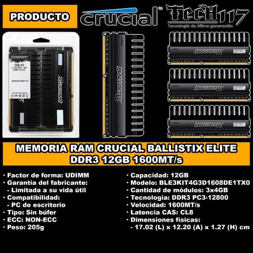 memoria ram crucial ballistix elite ddr3 12gb 3x4gb 1600
