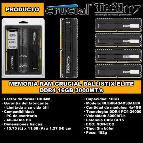memoria ram crucial ballistix elite ddr4 16gb 4x4gb 3000
