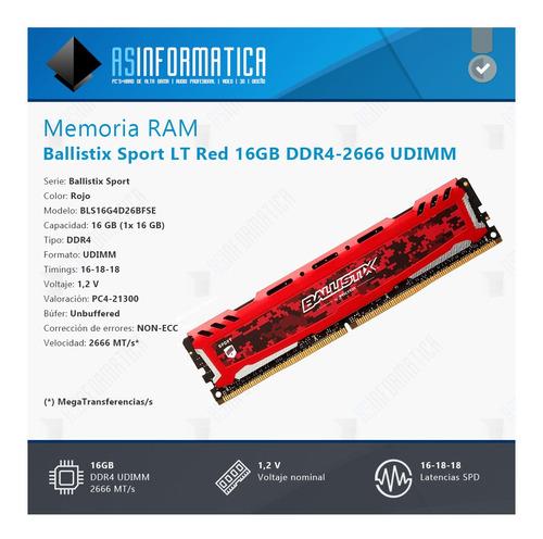 memoria ram crucial ballistix sport red 16gb ddr4 2666 mhz