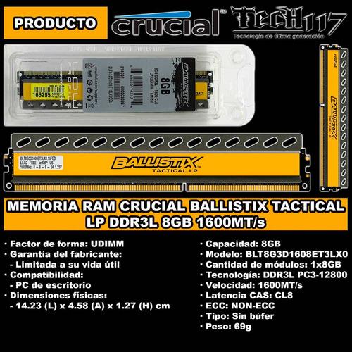 memoria ram crucial ballistix tactical ddr3l 8gb 1x8gb 1600