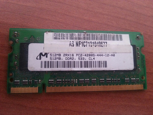 memoria ram ddr2 512mb pc2-4200 533mhz cl4 micron notebook