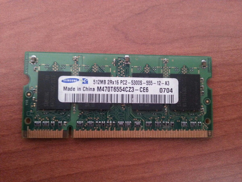memoria ram ddr2 512mb pc2-5300 667mhz cl5 samsung notebook