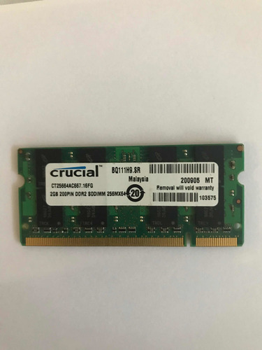 memoria ram ddr2 notebook 2gb crucial 667