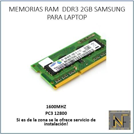 memoria ram ddr3 1600mhz de 2gb marca samsung para laptop
