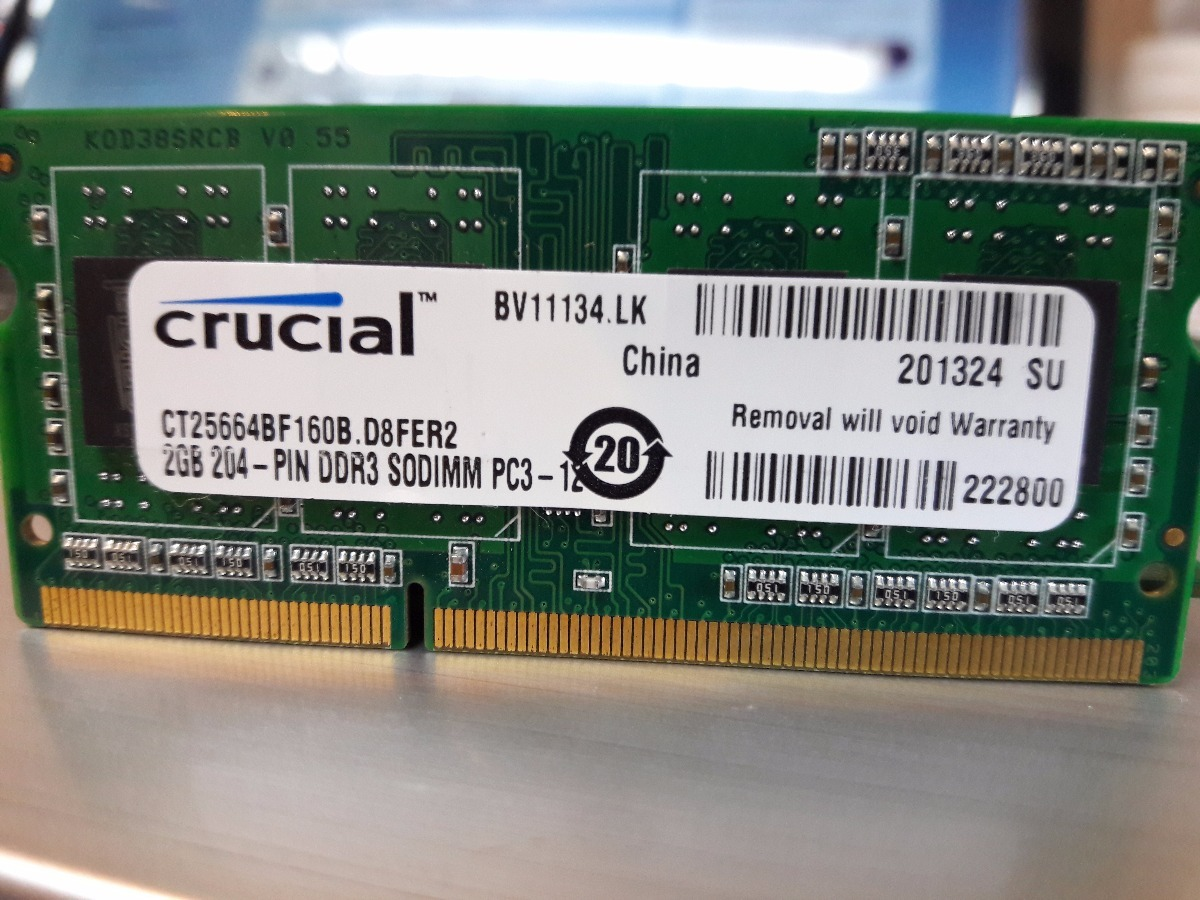 Memoria Ram Ddr3 2gb Pc3 Para Laptop Crucial 100 Original Bs 20
