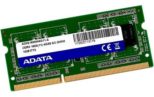 memoria ram ddr3 4gb 1600mhz adata premier laptop ad3s1600w4g11-s