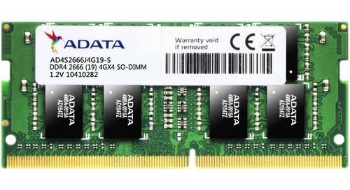 memoria ram ddr4 4gb 2666mhz adata laptop ad4s2666j4g19-s