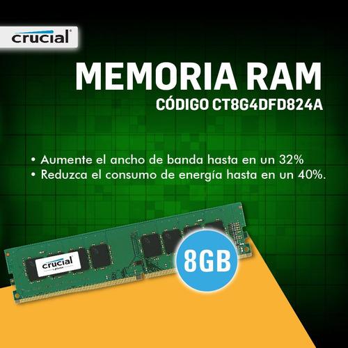 memoria ram ddr4 8gb 2400 mhz crucial udimm pce