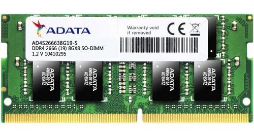 memoria ram ddr4 8gb 2666mhz adata laptop ad4s266638g19-s