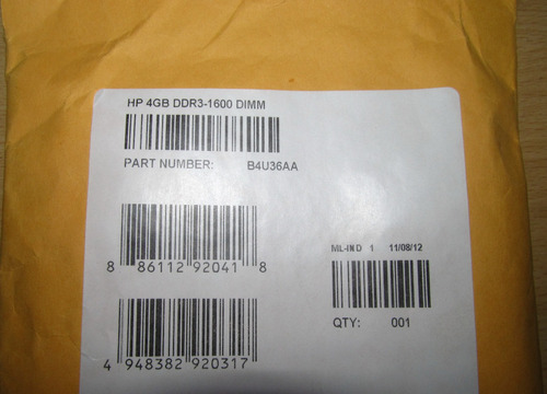 memoria ram hp 4gb ddr3 1600mhz original importada oem