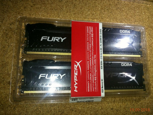 memoria ram hyperx fury 8gb 2133mhz ddr4  kit de 2 x 4gb