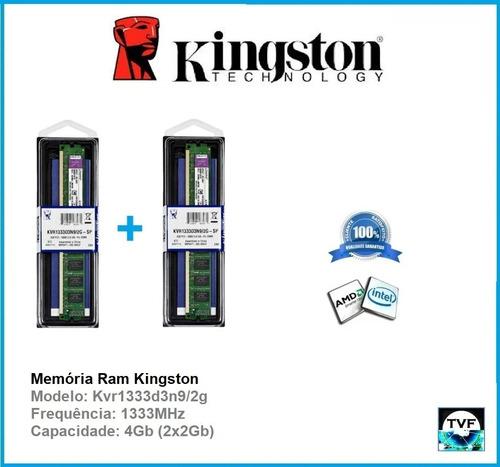memória ram kingston 4gb(2x2gb) ddr3 1333mhz  kvr1333d3n9/2g