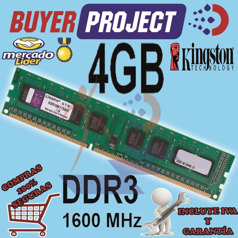 Memoria Ram Kingston Ddr3 4gb Pc3 12800 1600mhz Pc Escritor Us Memori Cargando Zoom