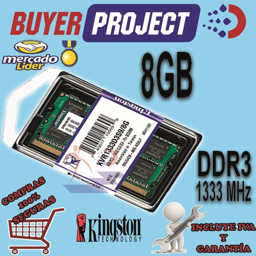 memoria ram kingston ddr3 8gb pc3-10600 1333mh sodimm laptop