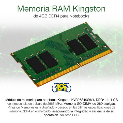memoria ram kingston sodimm notebook 4gb ddr4 2666mhz loi
