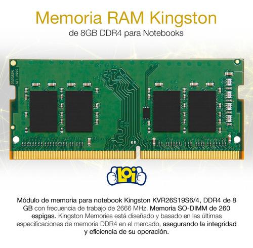memoria ram kingston sodimm notebook 8gb ddr4 2666mhz loi