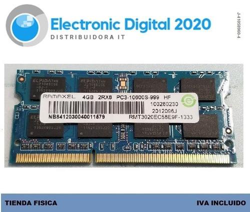 memoria ram  laptop ddr3 4gb 2rx8 pc3 10600s