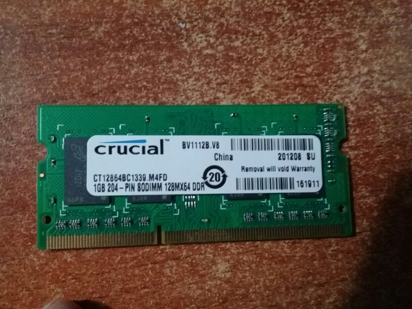f1e01cd5432 Memoria Ram Laptop De 1gb - Bs. 15.000,00 en Mercado Libre