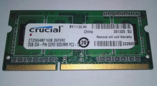 memoria ram para laptop de 2gb/ ddr3/ 1600mhz marca crucial