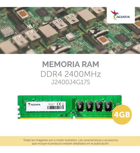 memoria ram para pc 4gb 2400mhz adata ddr4 pce